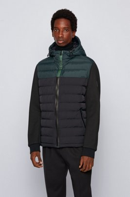 Hybrid hooded jacket with colour-block logo zip, Black
