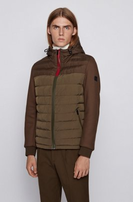 Hybrid hooded jacket with colour-block logo zip, Light Green