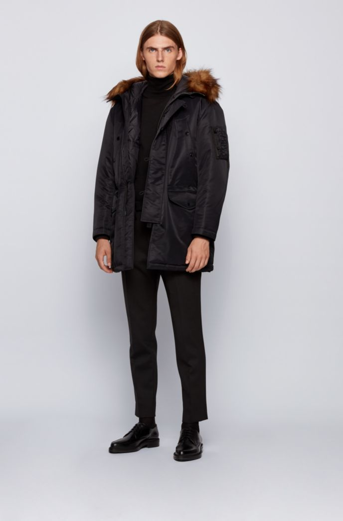 Water-repellent parka with statement hood