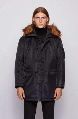 Water-repellent parka with statement hood , Black