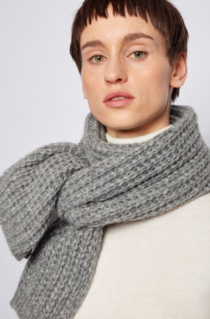 Chunky rib-knit scarf in a melange alpaca blend