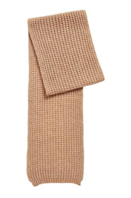 Chunky rib-knit scarf in a melange alpaca blend, Light Brown