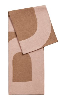 Logo-intarsia scarf in virgin wool and cotton, Light Brown