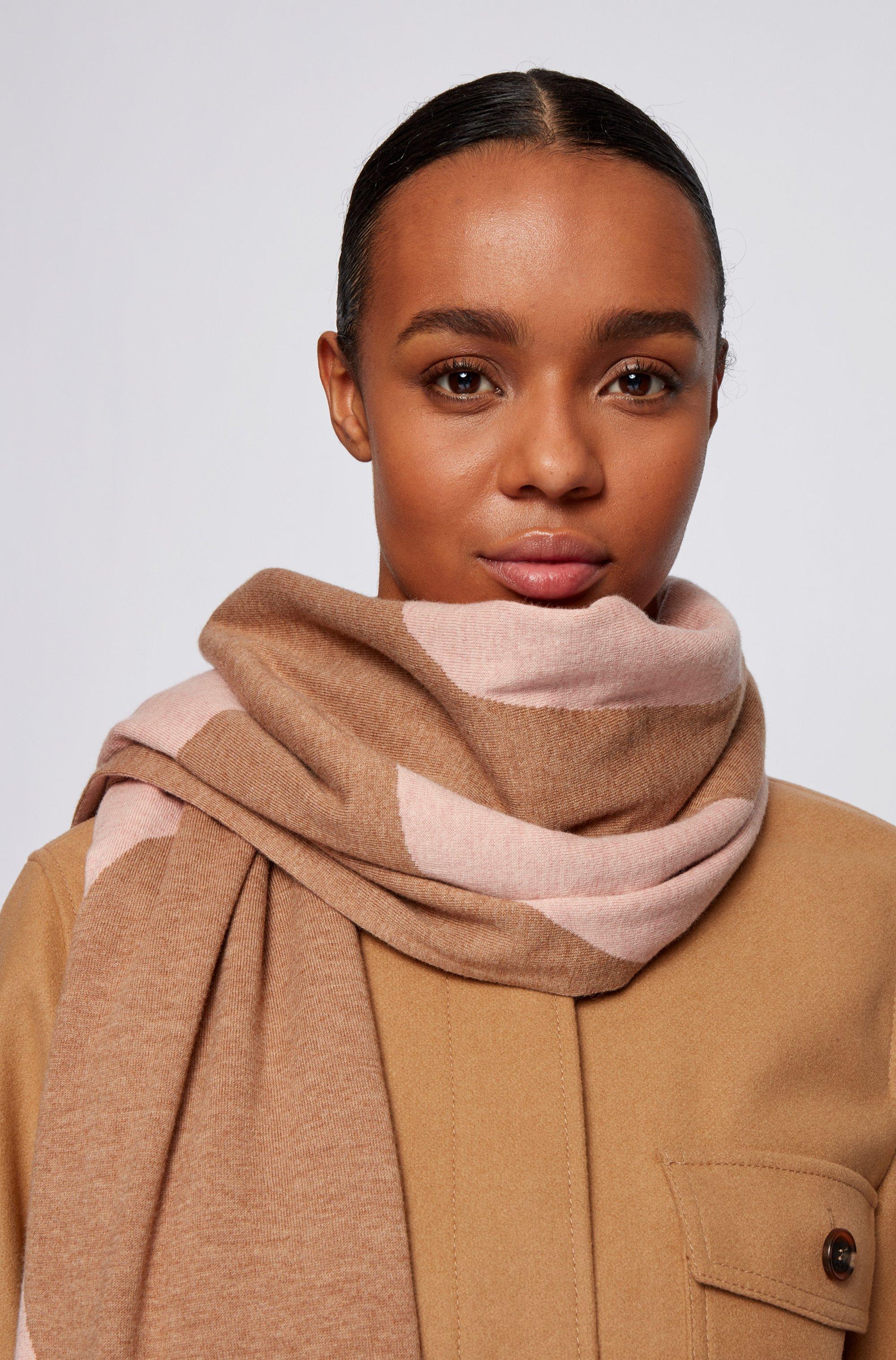 Écharpe en laine vierge et coton à logo intarsia