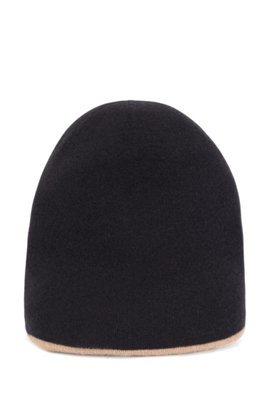 Reversible beanie hat in virgin wool with cashmere, Patterned