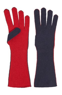 Two-tone gloves in virgin wool with cashmere, Patterned