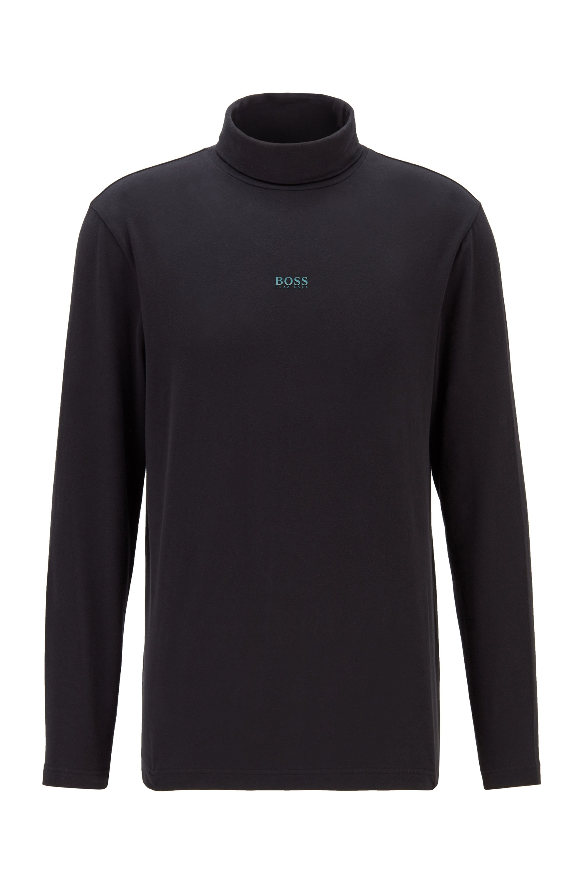 T-shirt van stretchkatoen met col en gerubberd logo, Zwart