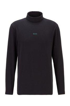 Maglia a collo alto in cotone elasticizzato con logo gommato, Nero