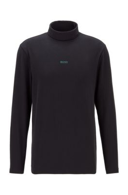 Rollkragen-Shirt aus Stretch-Baumwolle mit gummiertem Logo, Schwarz