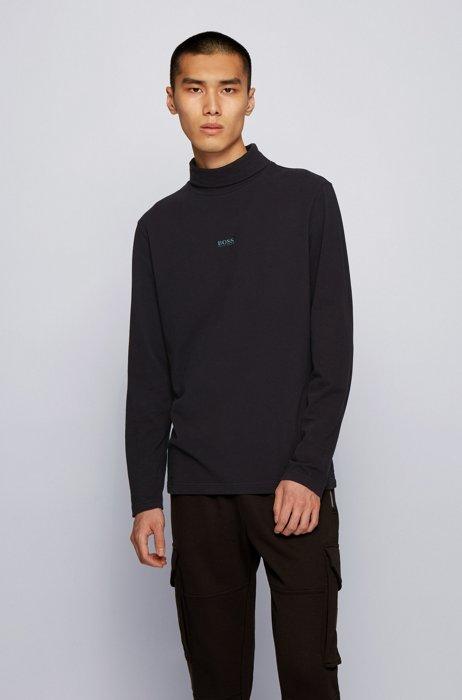 T-shirt à col roulé en coton stretch avec logo gommé, Noir