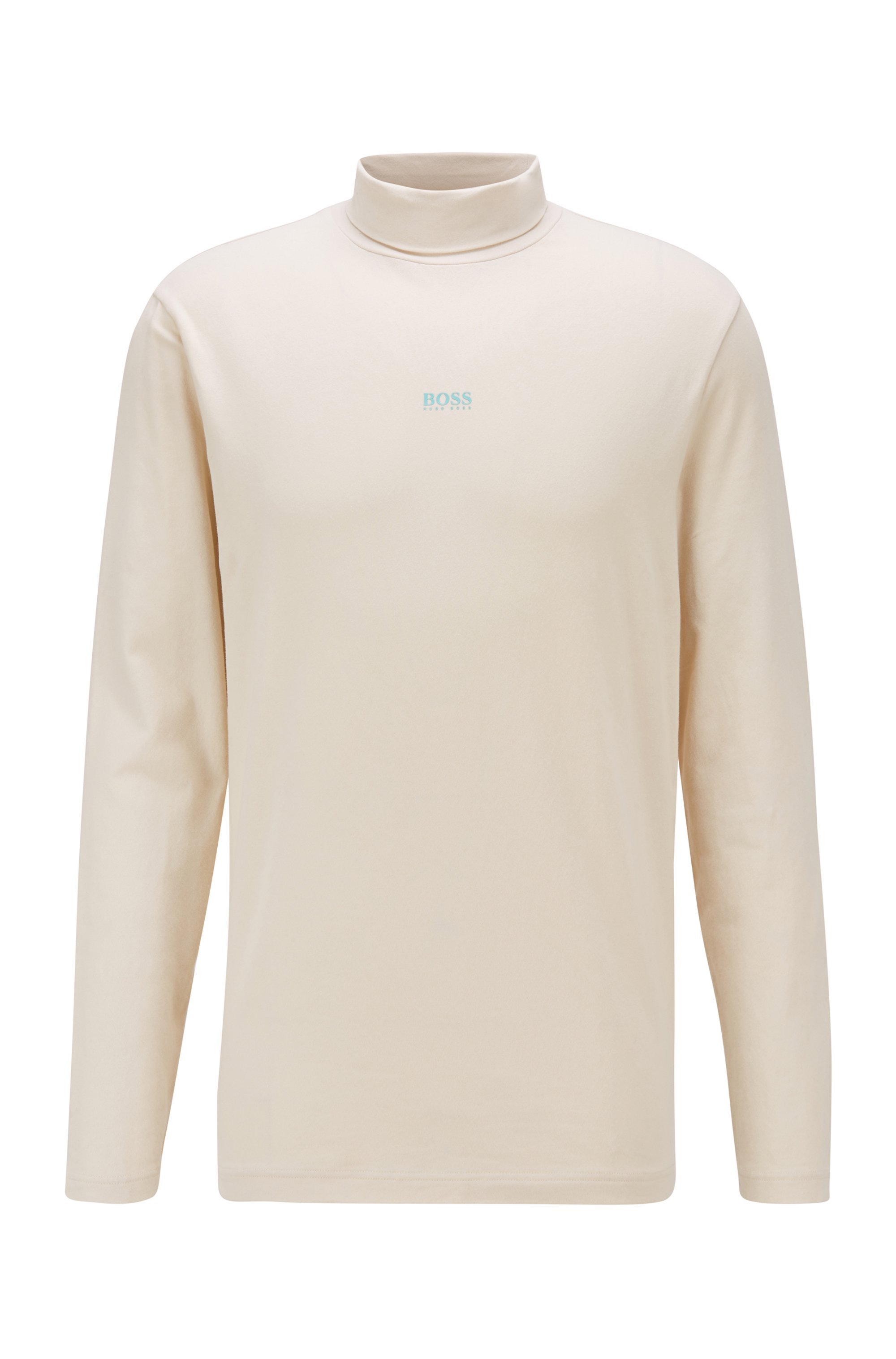 T-shirt à col roulé en coton stretch avec logo gommé, Beige clair