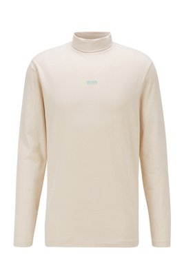 Stretch-cotton rollneck T-shirt with rubberised logo, Light Beige