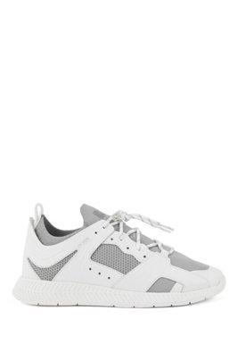 Sneakers met leren garneersel en reflecterend breiwerk, Wit