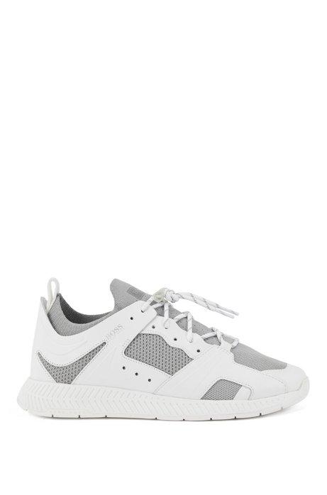 Sneakers con rifinitura in pelle e lavorazione a maglia riflettente, Bianco