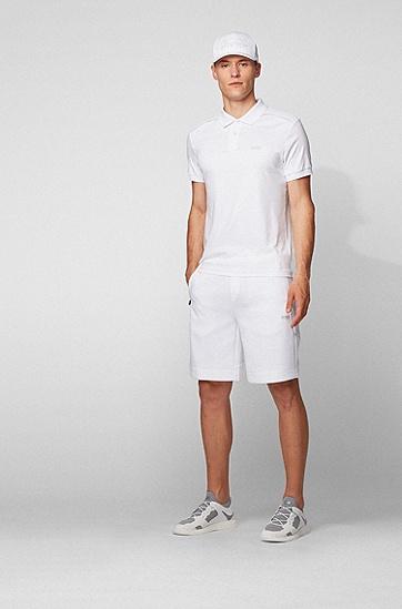 反光针织鞋面皮革饰边运动鞋,  100_白色