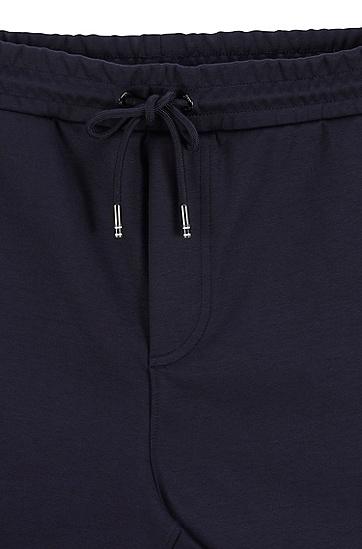 弹力平纹单面针织布抽绳慢跑长裤,  402_暗蓝色