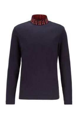 T-shirt in cotone a maniche lunghe con monogramma sul collo a lupetto, Blu scuro