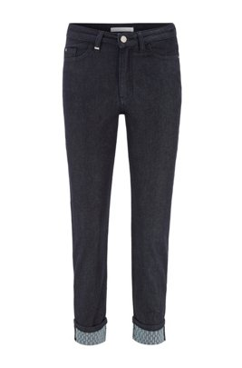 Regular-fit cropped jeans in rinse-washed stretch denim, Dark Blue