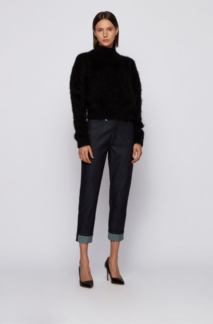 Regular-fit cropped jeans in rinse-washed stretch denim