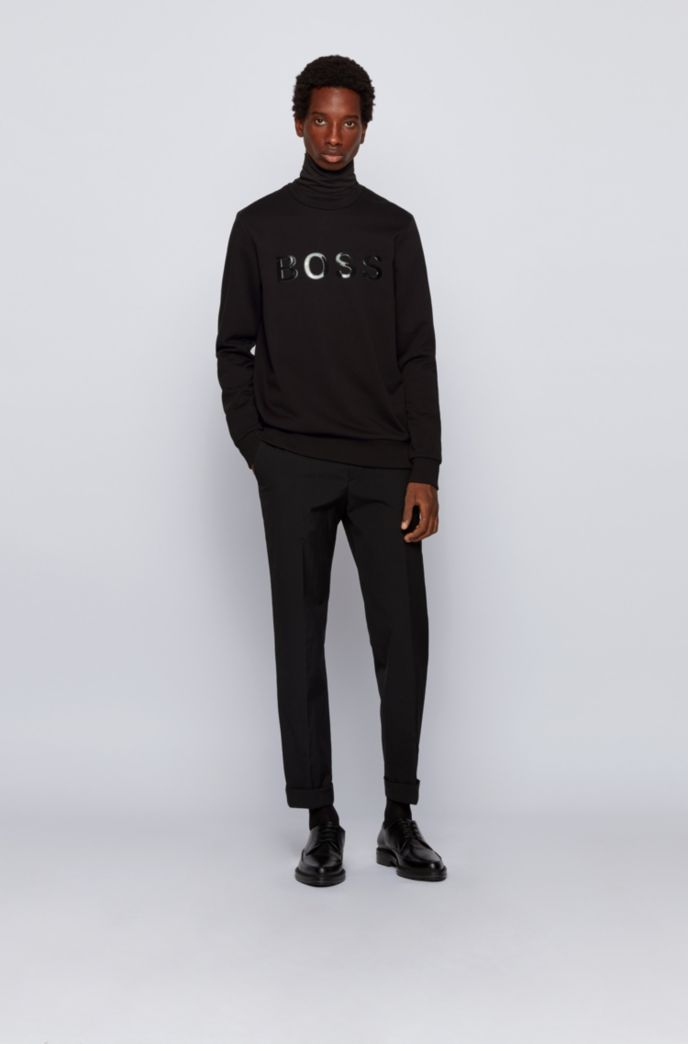 Mercerised terry cotton sweatshirt with glossy 3D logo
