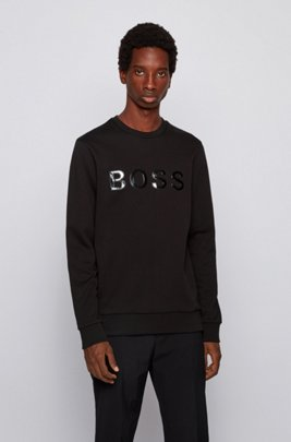 Mercerised terry cotton sweatshirt with glossy 3D logo, Black