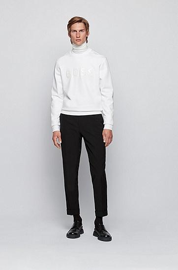光面 3D 徽标丝光毛圈布棉质运动衫,  100_白色