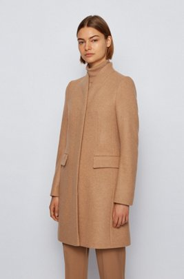 Formal coat in a melange wool blend, Light Brown