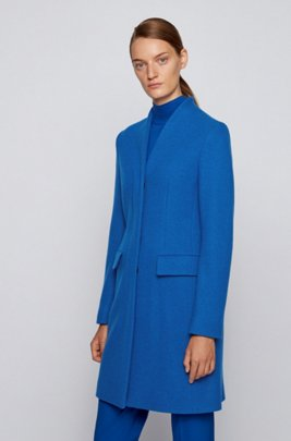 Formal coat in a melange wool blend, Light Blue