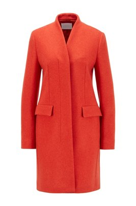 Formal coat in a melange wool blend, Dark Orange