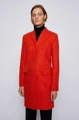 Eleganter Mantel aus meliertem Woll-Mix, Dunkelorange