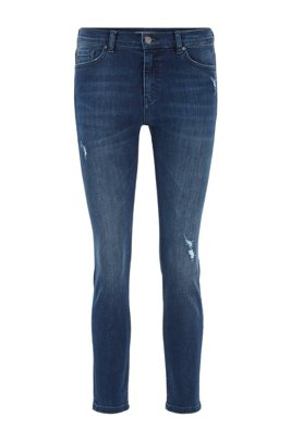 Slim-fit jeans in mid-blue super-stretch denim, Dark Blue