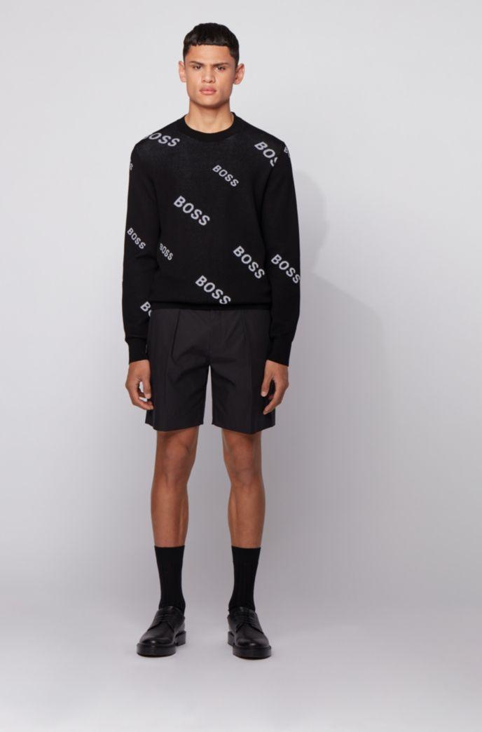 Cotton sweater with jacquard logo motif