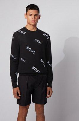 Cotton sweater with jacquard logo motif, Black