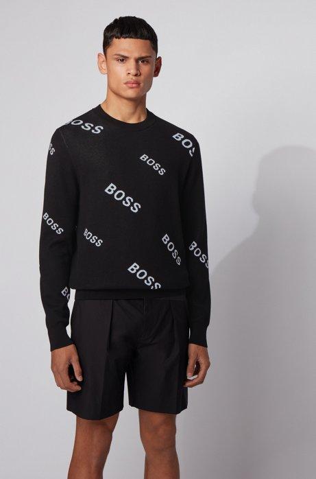 Pullover aus Baumwolle mit Jacquard-Logos, Schwarz