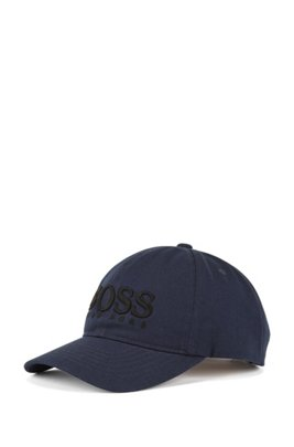 Cotton-twill cap with 3D-logo embroidery, Dark Blue