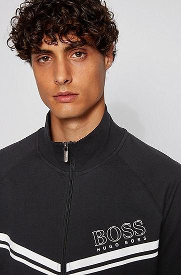 棉质毛圈布拉链家居便服夹克,  001_黑色