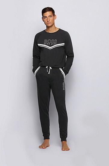 饰以徽标与条纹装饰的法国毛圈布家居便服运动衫,  001_黑色