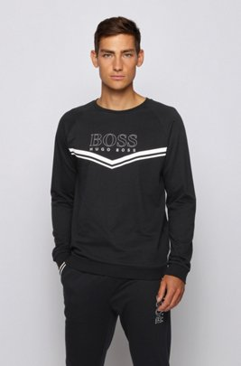 Loungewear sweatshirt in French terry with logo and stripes, Black
