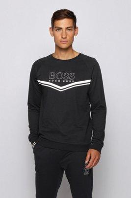 Sudadera homewear en felpa de rizo con rayas y logo, Negro
