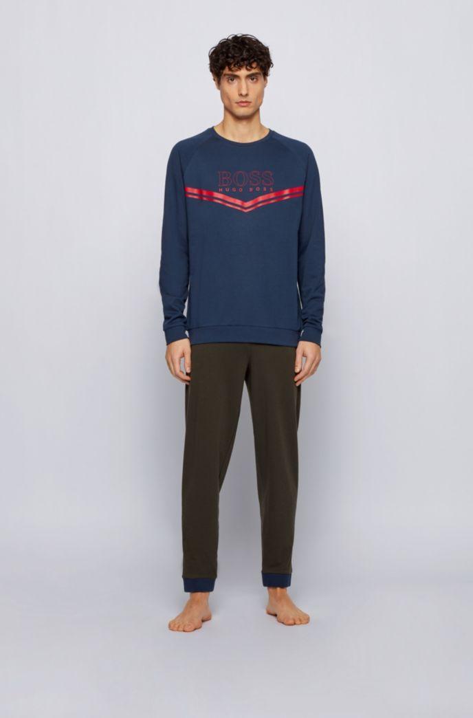 Sudadera homewear en felpa de rizo con rayas y logo