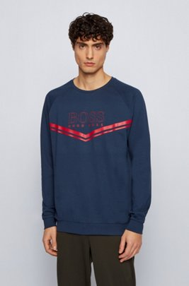Loungewear sweatshirt in French terry with logo and stripes, Dark Blue