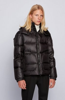 Water-repellent down jacket with logo-tape trim, Black