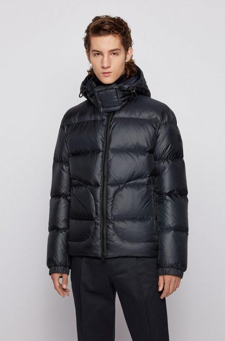 Water-repellent down jacket with logo-tape trim, Dark Blue