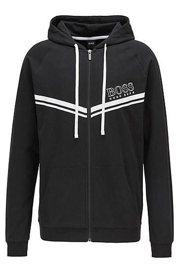 带条纹和徽标装饰的棉质家居便服夹克,  001_黑色