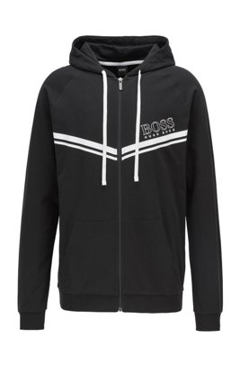 Cotton loungewear jacket with stripes and logo, Black