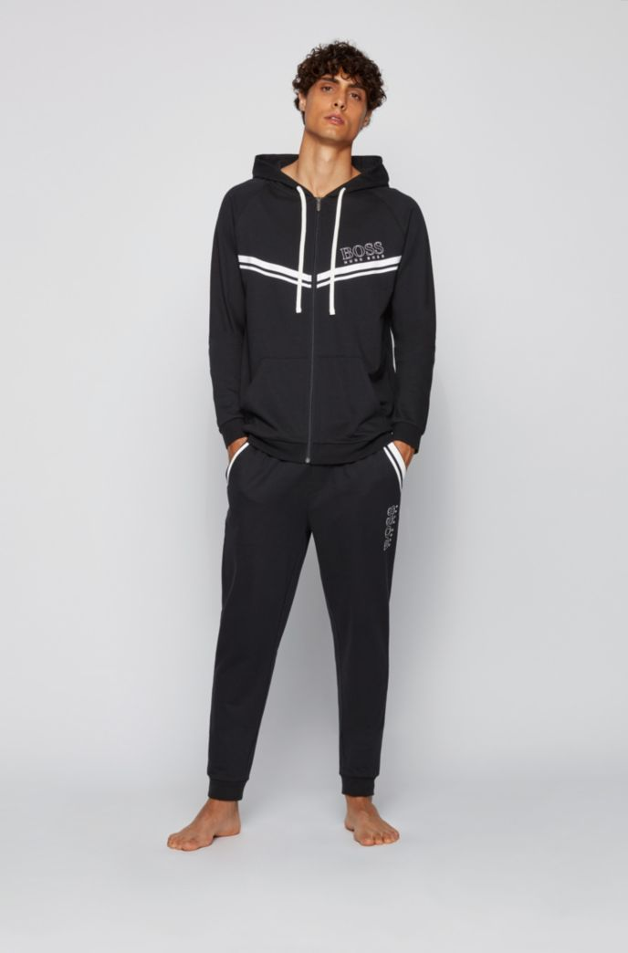 Cotton loungewear jacket with stripes and logo