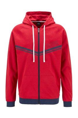 Loungewear-Jacke aus Baumwolle mit Streifen und Logo, Rot