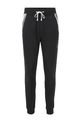 Loungewear trousers in French terry with contrast stripes, Black