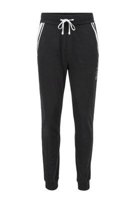 Pantalones homewear en felpa de rizo con rayas en contraste, Negro