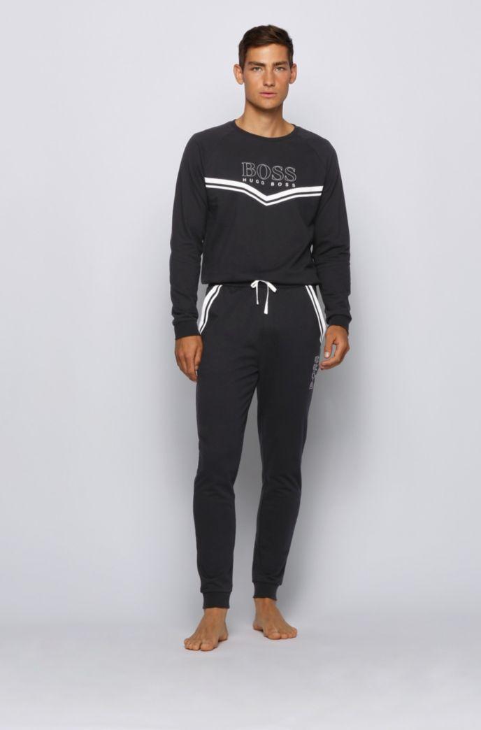 Pantalones homewear en felpa de rizo con rayas en contraste